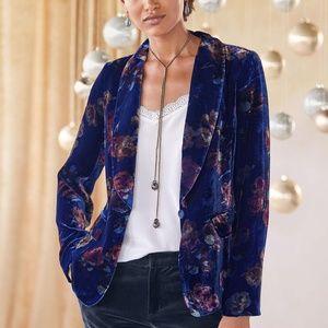 Sundance Blue Velvet Rose Garden Blazer Size 8